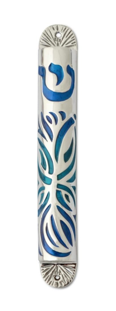 sterling silver & colorful cold enamel mezuzah case, judaica made in israel