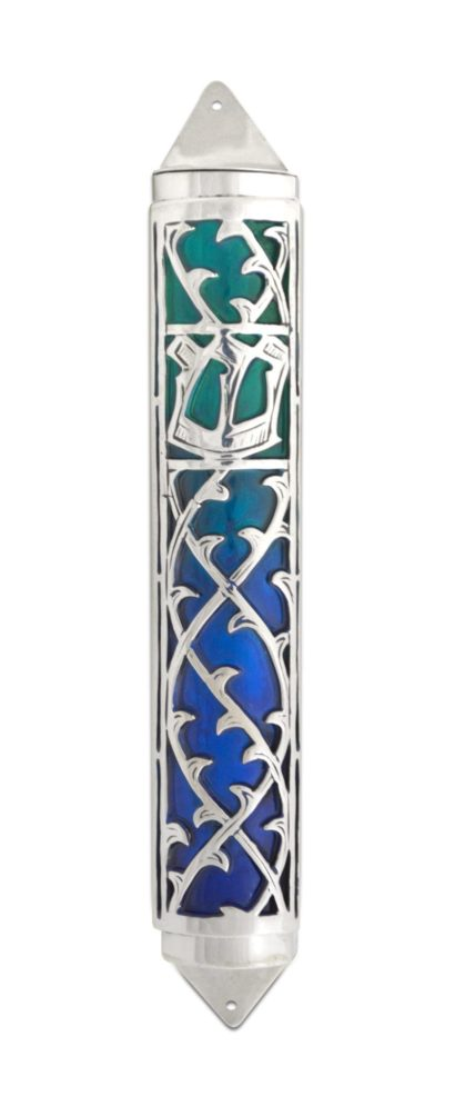sterling silver and colorful enamel mezuzah, silver decorations, judaica made in israel