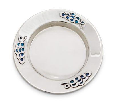 silver plate with blue enamel