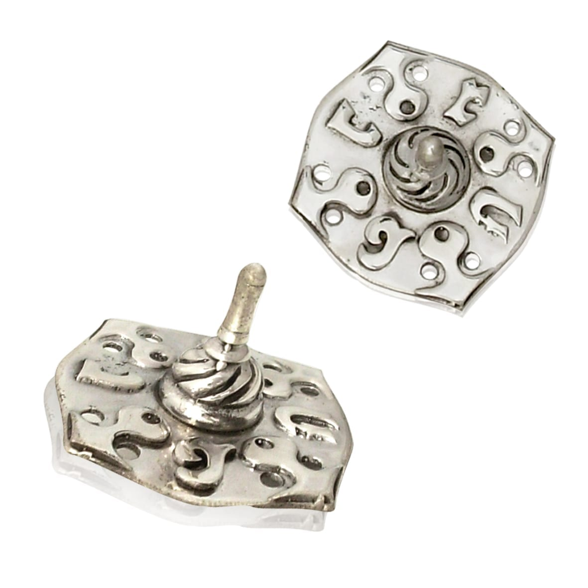 Thin sterling silver dreidel with swirling silver designs. Hannukah Judaica gifts made in Israel