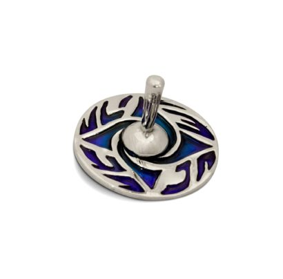 Sterling silver dreidel with swirling colorful enamel decorations. Hannukah Judaica gifts made in Israel