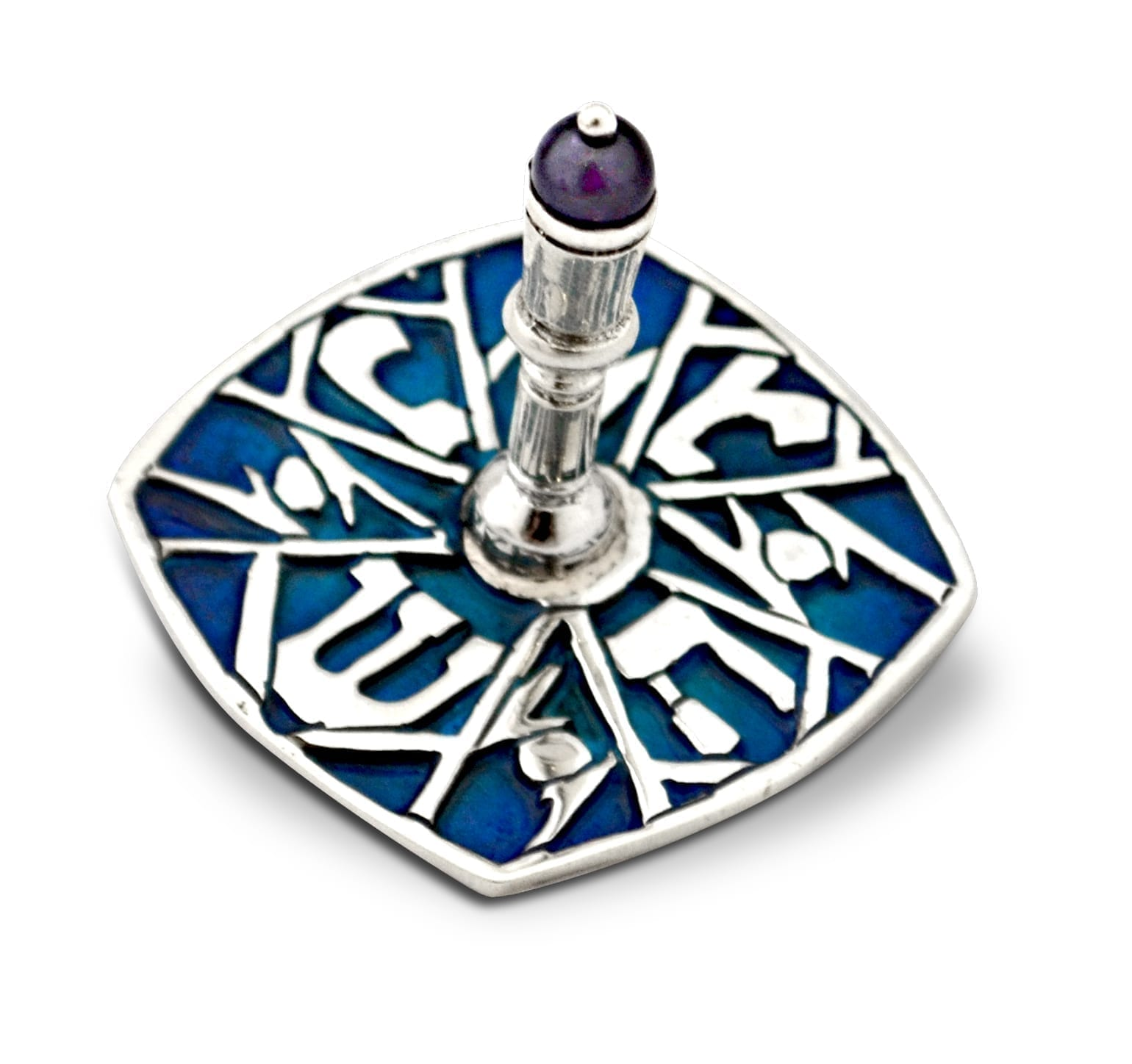 Sterling silver dreidel with colorful enamel and a semi-precious orb. Hannukah Judaica gifts made in Israel