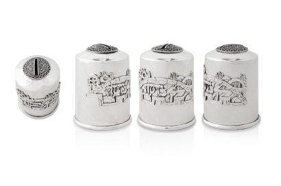 sterling silver tzedakah box, jerusalem motif charity box, judaica made in israel