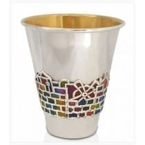 Sterling silver Kiddush cup with Jerusalem enamel