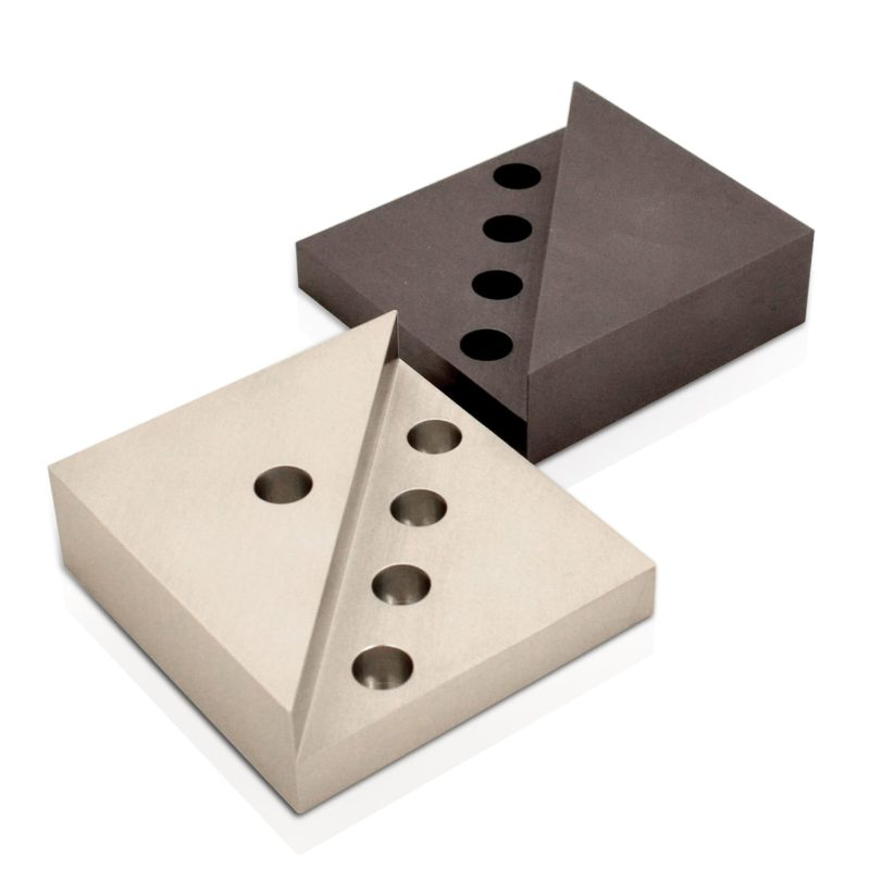 Colorful, compact traveling square-shaped Menorah from anodized aluminum. Judaica made in Israel