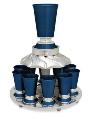 Colorful Kiddush wine fountain with 10 small cups, anodized aluminum Judaica made in Israel by Nadav Art
