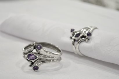 Silver Napkin Ring with Amethysts