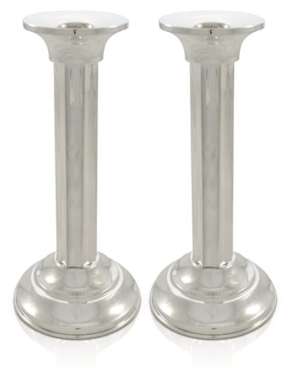 Large neo-classical sterling silver candlesticks. Shabbat Judaica made in Israel