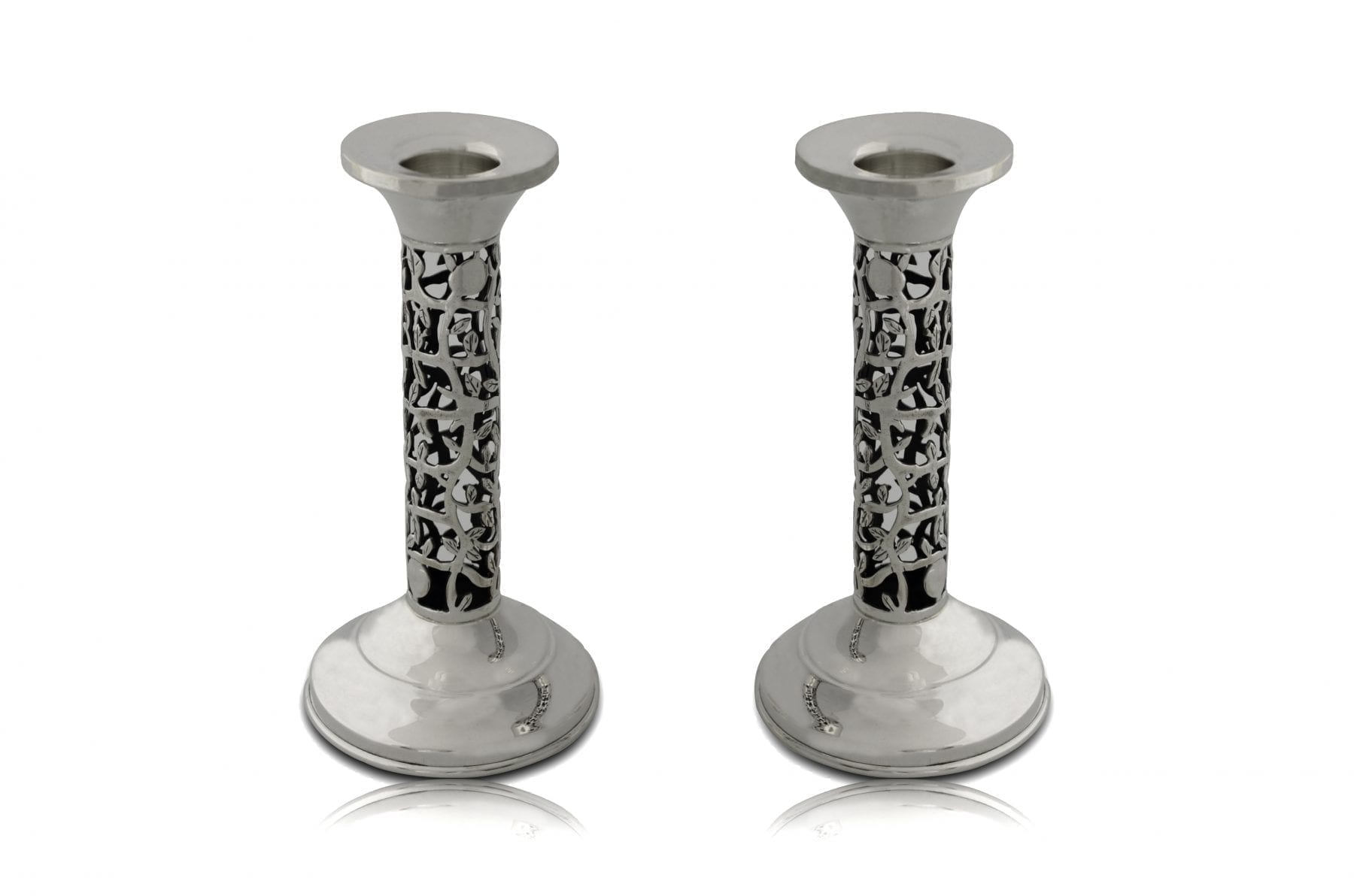 Petite, cut-out pattern sterling silver candlesticks. Shabbat Judaica made in Israel
