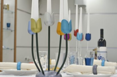 Colorful tulip candelabra, anodized aluminum Judaica & home decor made in Israel by Nadav Art