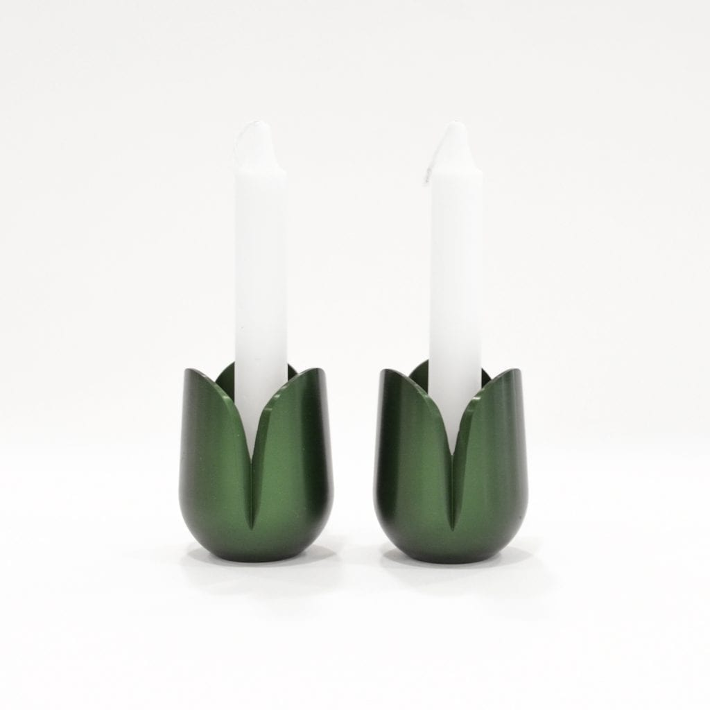 Anodized aluminum tulip candle holders