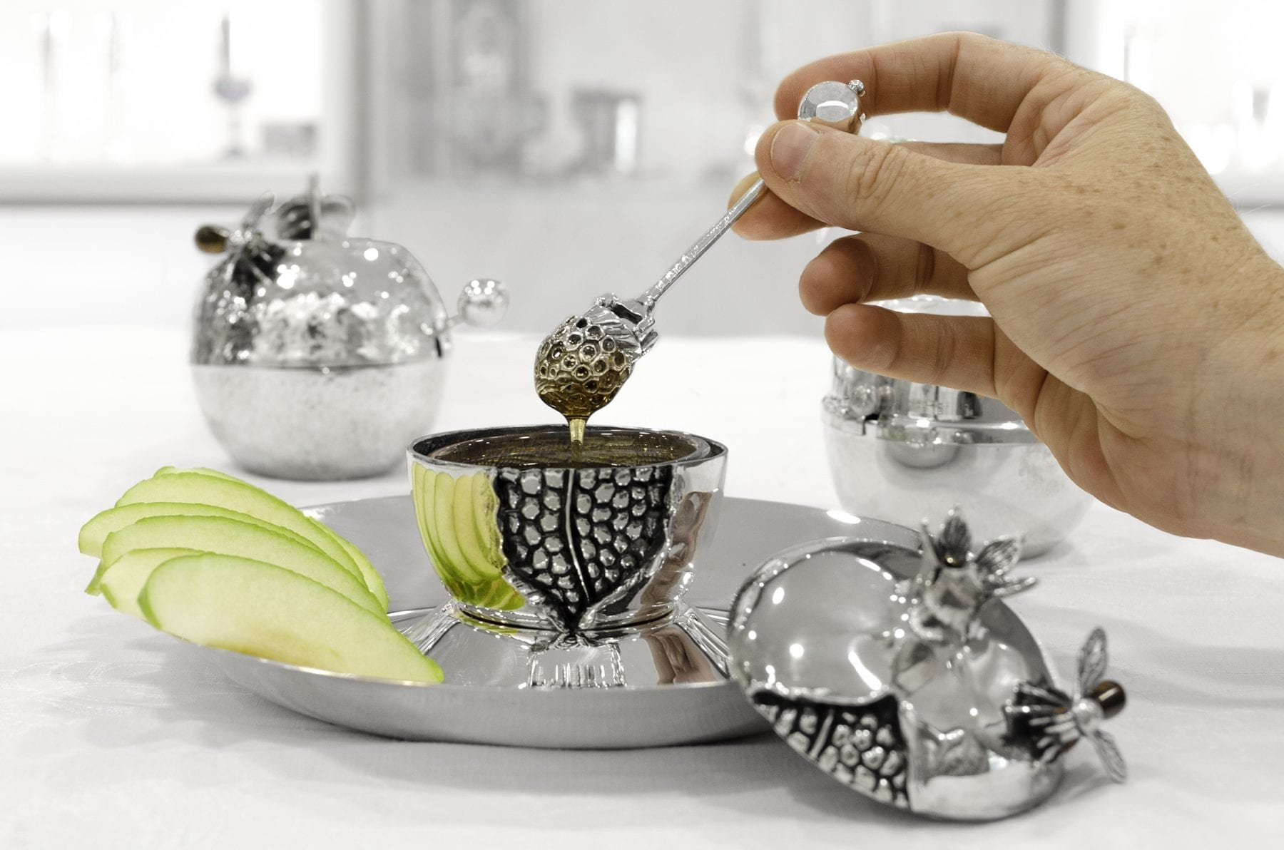 Silver honey dish