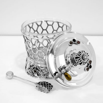 silver beehive honey dish