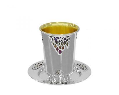 silver enamel kiddush set