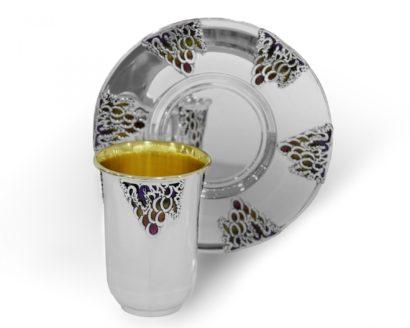 sterling silver enamel kiddush set