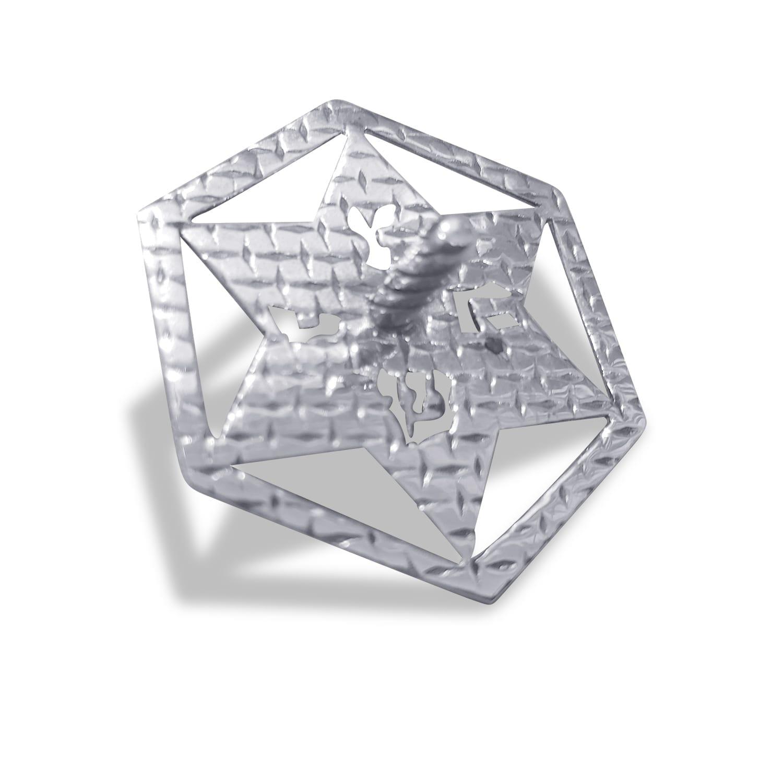 Hanukkah Hollow Silver Dreidel Star of david