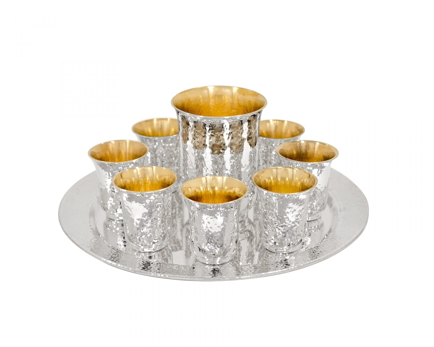 Hammered Kiddush Set with 6 Liqueurs