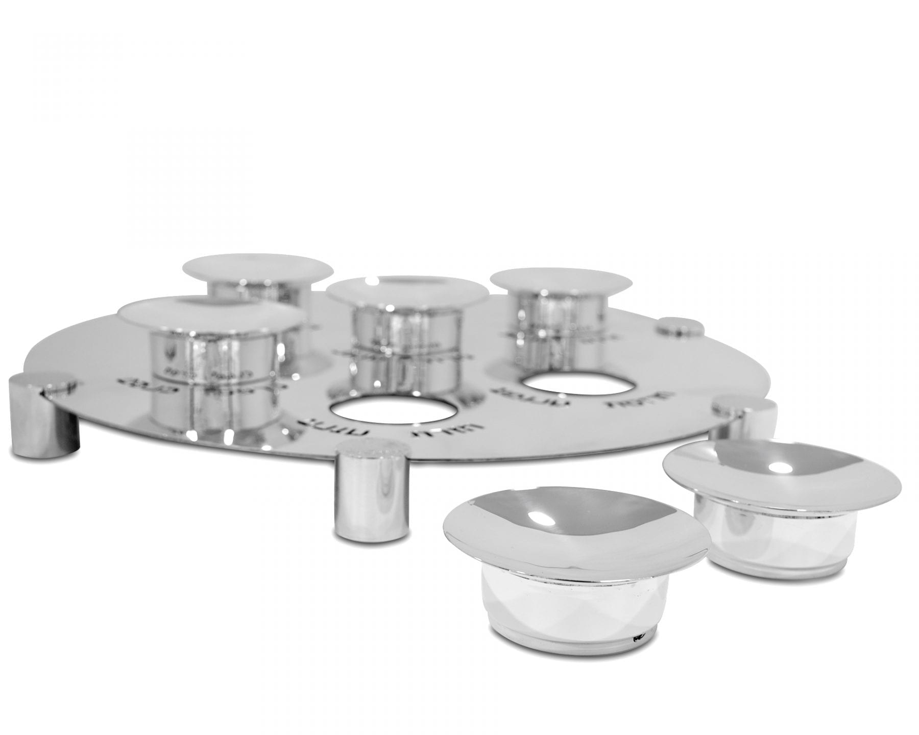 Sterling Silver & Aluminum Seder Plate Hammered Finishing Legs
