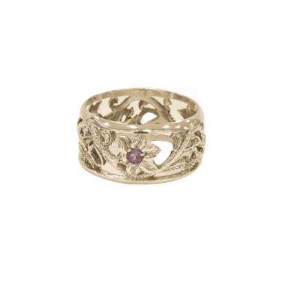 Silver & Amethysts Napkin Ring holder
