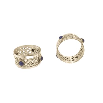 Blue Lapis Stones Napkin Ring Holder