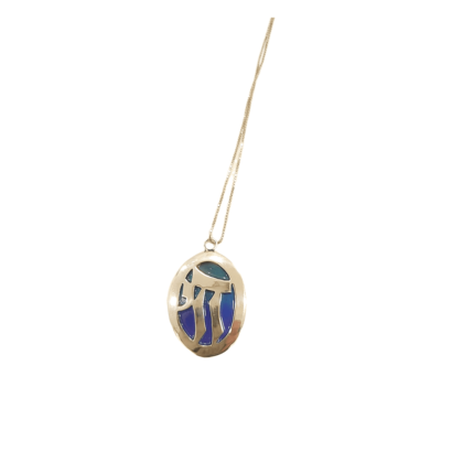 Blue Enamel Large Chai Necklace
