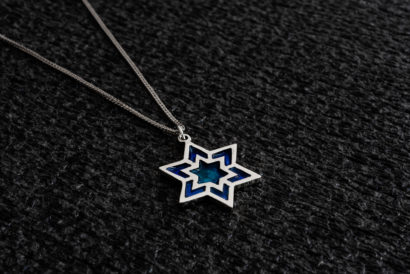 Large Silver Blue Star of David Necklace Large silver Blue Star of David Necklace - NADAV ART