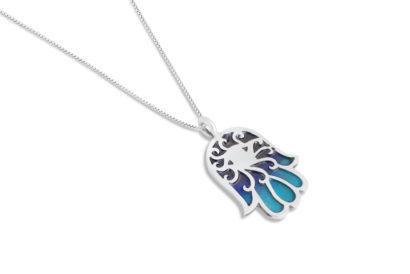 Colorful Enamel Silver Hamsa Necklace Colorful enamel Silver Hamsa Necklace - NADAV ART