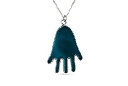 Silver Hamsa Necklace with blue Enamel Silver Hamsa Necklace with blue Enamel - NADAV ART