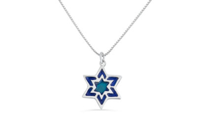 Small silver Blue Star of David Necklace Small silver Blue Star of David Necklace - NADAV ART
