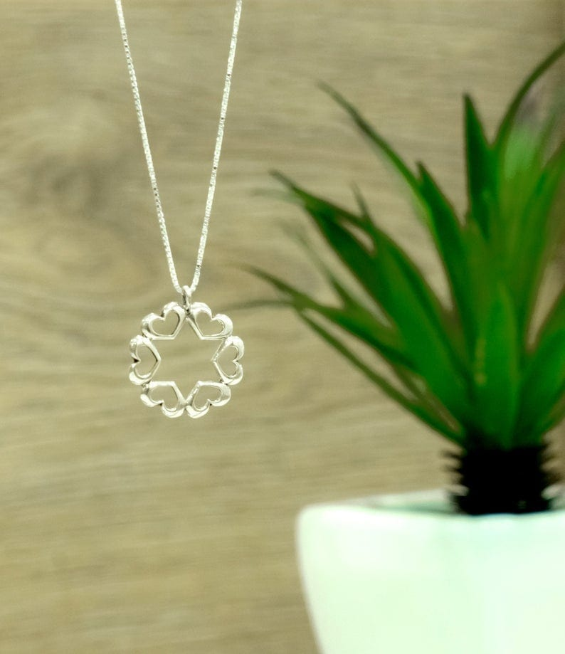 Small Silver Star of David Hearts design Small Silver Star of David Hearts design