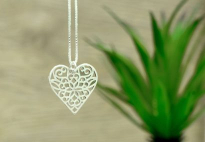 Sterling Silver Heart Necklace,