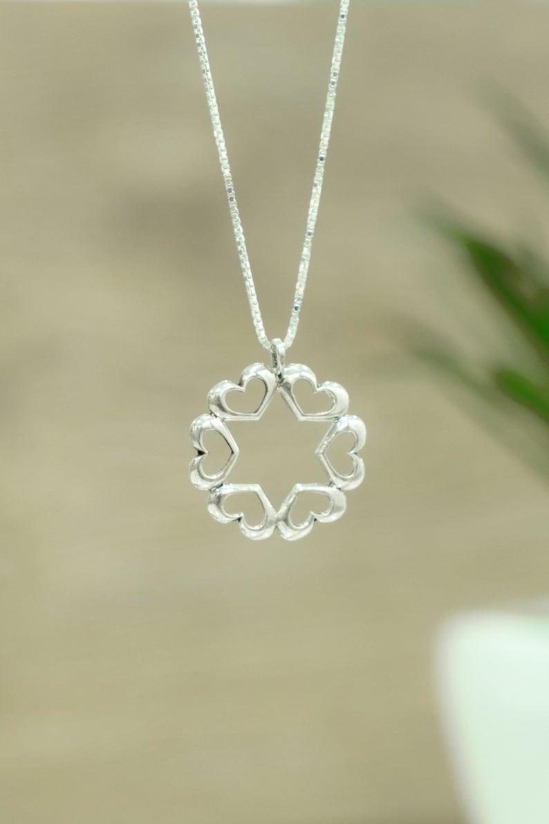 Silver Star of David All Around Hearts design