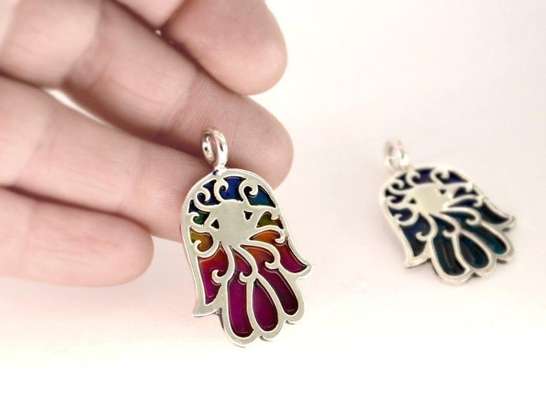 Colorful enamel Silver Hamsa Necklace