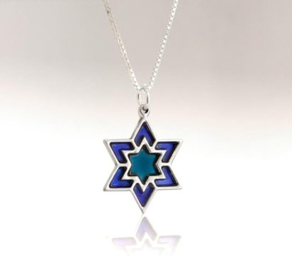 Large Silver Blue Star of David Necklace