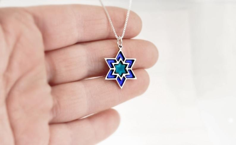 Small silver Blue Star of David Necklace