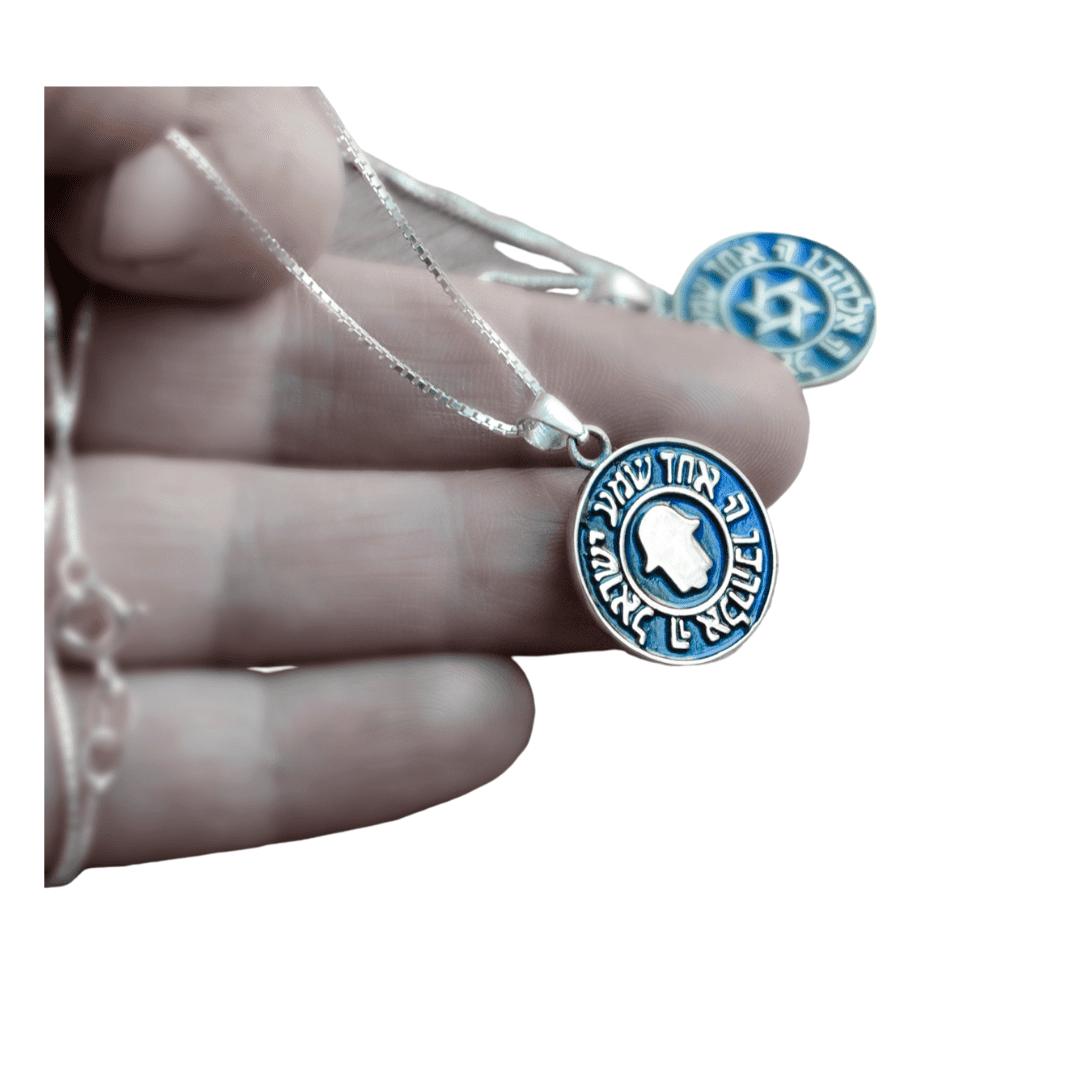 Silver Shema Israel & Hamsa Necklace