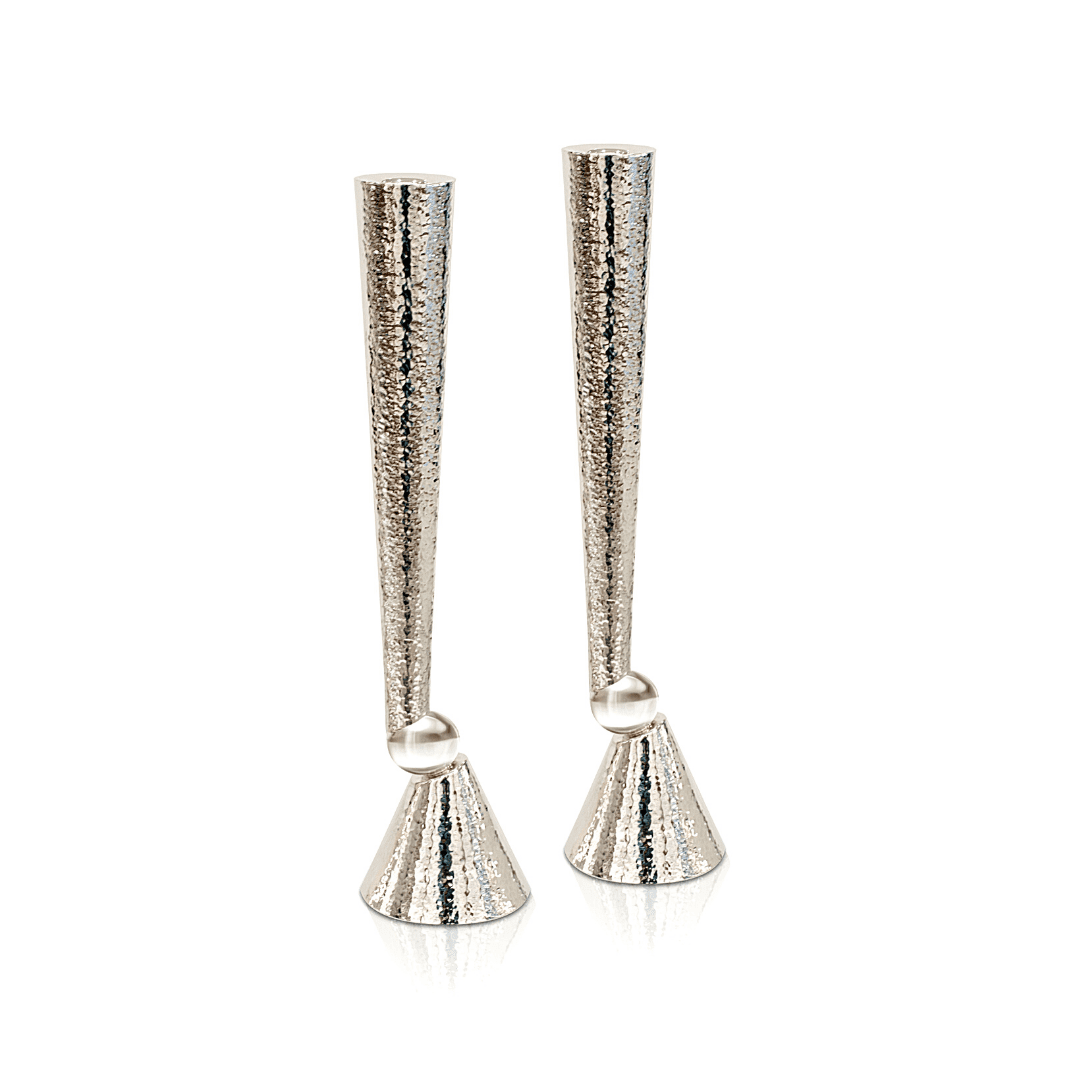 Extra Large Hammered 925 Sterling Silver Candlesticks
