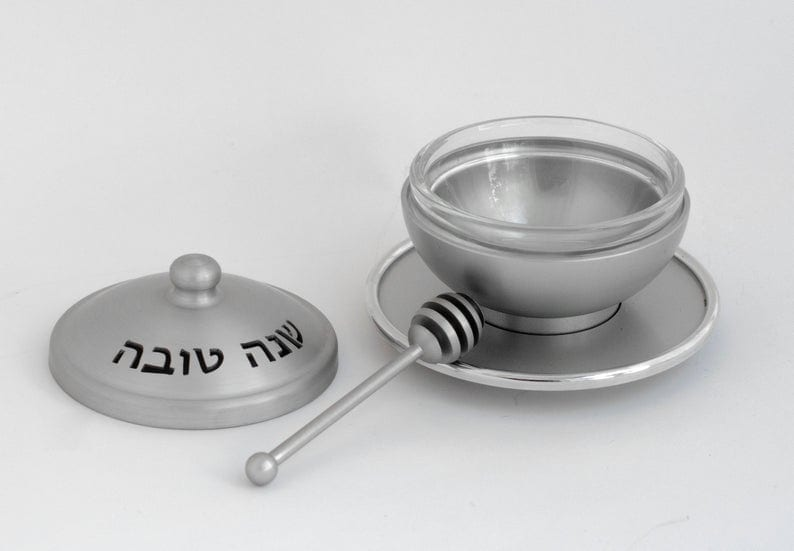 Aluminum honey dish set with Hebrew blessing