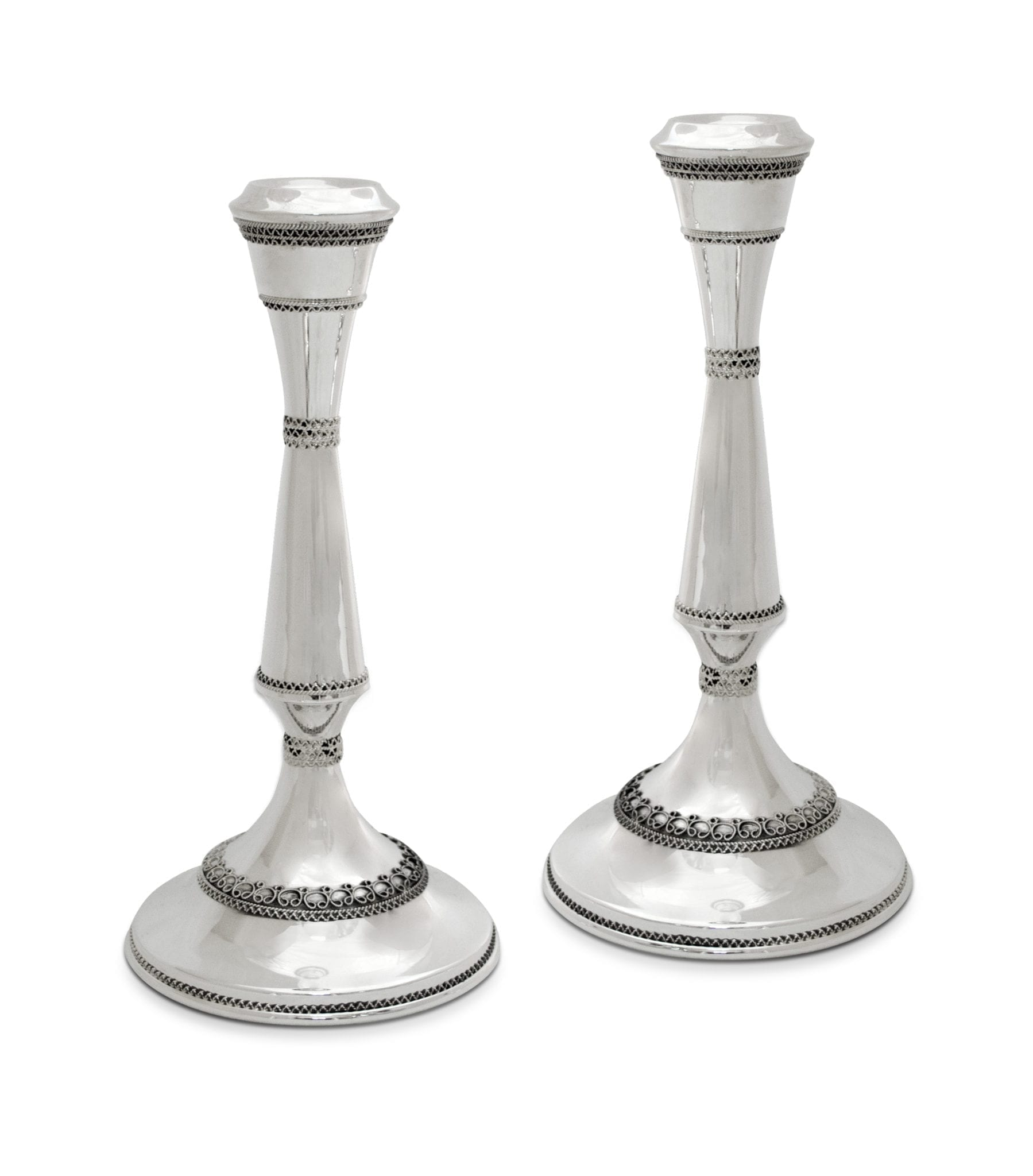 Large Sterling Silver Filigree Candlesticks