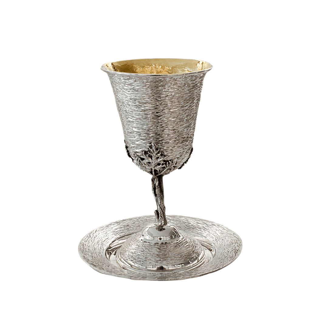 Hammered Kiddush Cup with Matched Plate Set