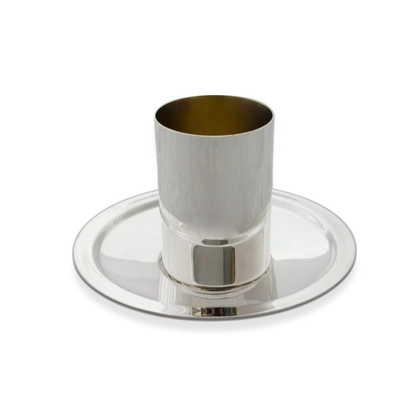 Contemporary Kiddush Cup and saucer set