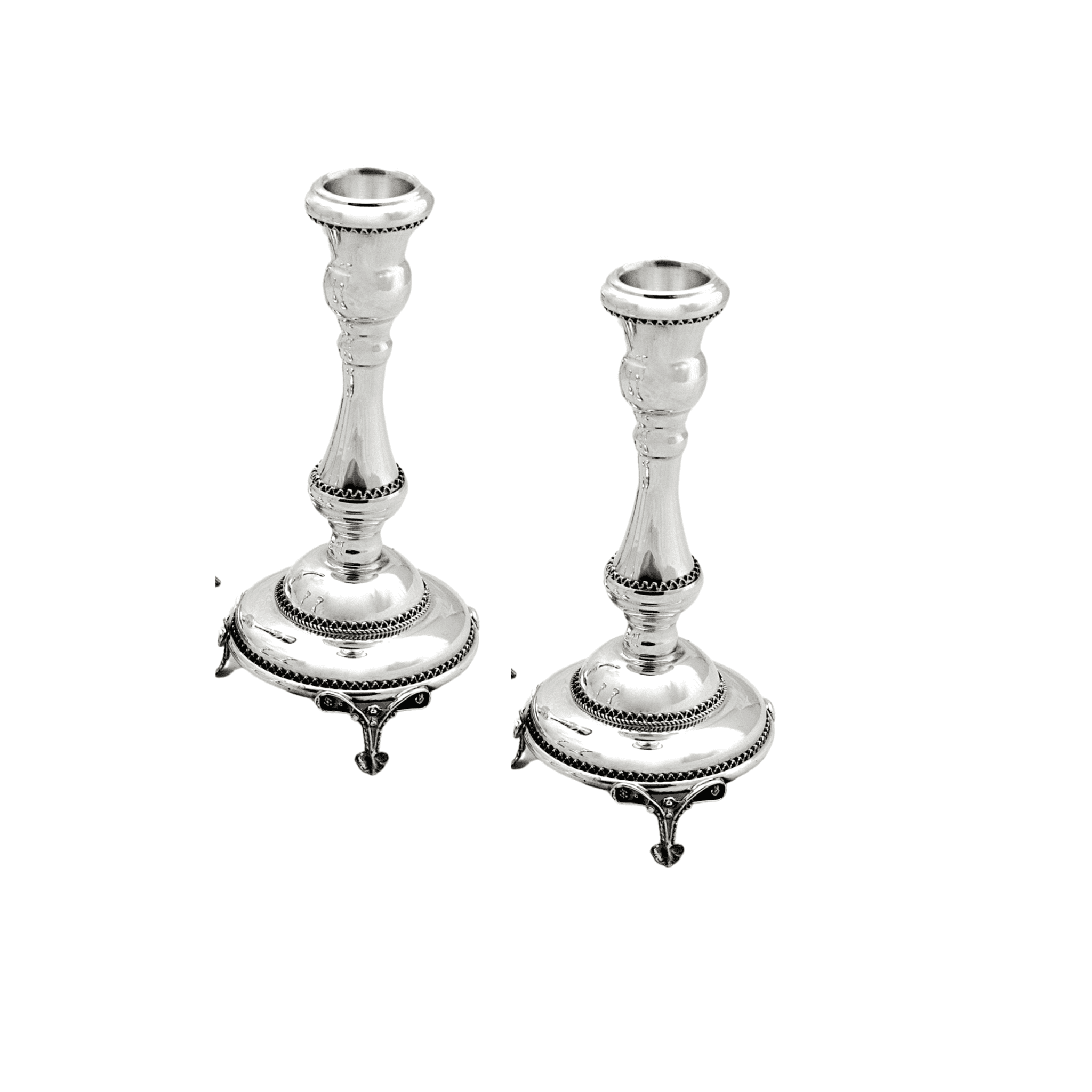 Silver Filigree Candle Holders with Legs
