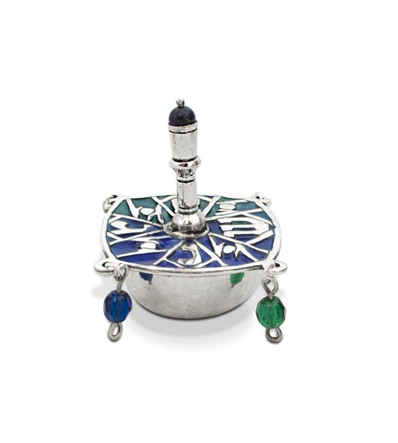 Silver Dreidel Multicolored Crystal Beads
