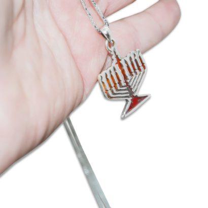 Sterling Silver Menorah Pendant