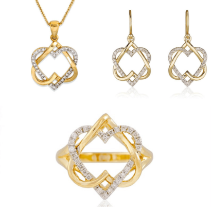 Admirably Heart diamonds gold Set