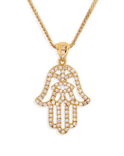 Unique one of a kind Hamsa Pendant- Diamond/Gold