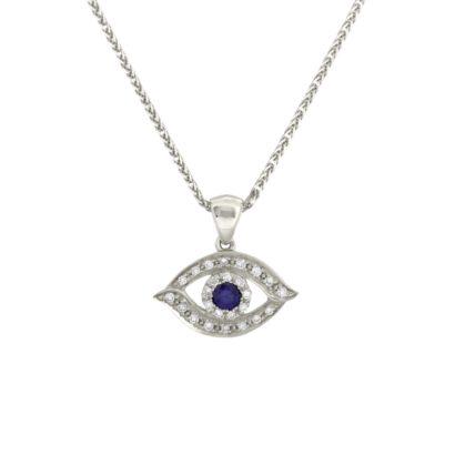 Evil Eye Pendant-  Diamond/Gold/Sapphire