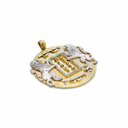 Large Stunning 14K Gold Ten Commandments Lions