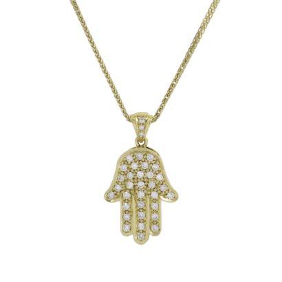 Hamsa Pendant- Diamond/Gold