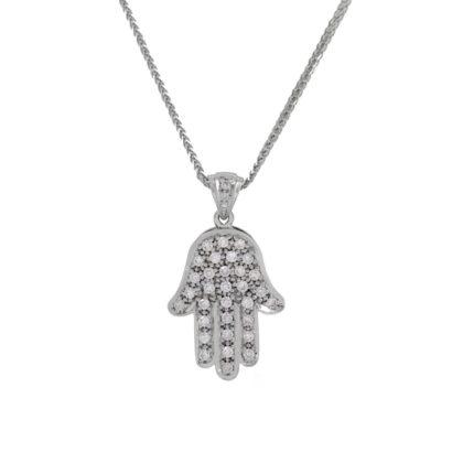 Jerusalem Hamsa Pendant- Diamond/Gold